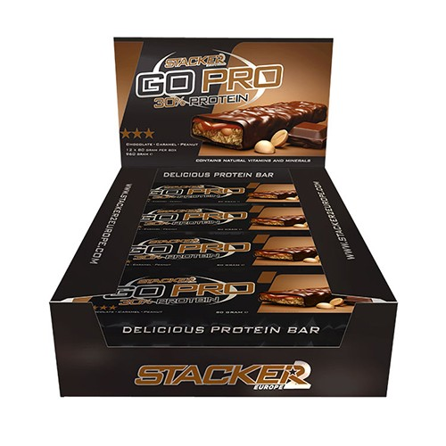 Stacker2 Go Pro Protein Bar 12x80g - Chocolate Caramel Peanut