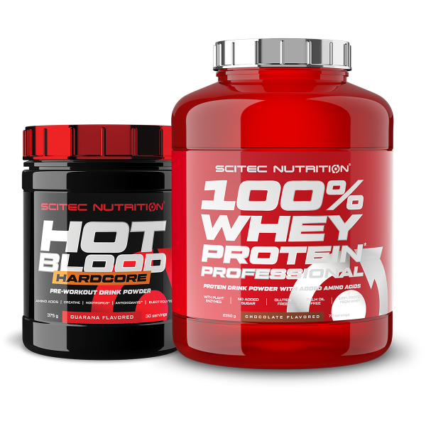 Scitec 100% Whey Protein Professional 2350g+ Hot Blood Hardcore 375g (Set)