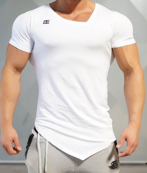 Body Engineers YUREI – asymmetric V neck WHITE OUT